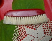 Vintage Red Flat Natural Bristle Clothing Brush Germany
