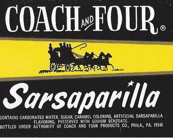 Coach and Four Sarsaparilla Vintage Soda Label, 1940s