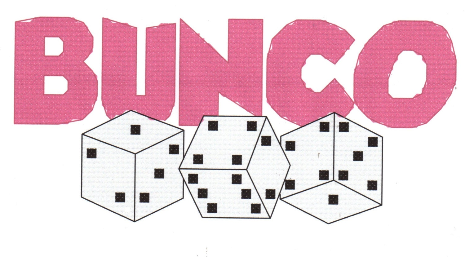 bunco with dice counted cross stitch pattern instant digital bunco clip art free images Bunco Artwork