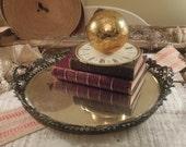 Vintage Round Beveled Mirror / Vintage Mirror Patina / Vanity Mirror / Leaf Pattern
