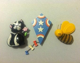 Vintage AVON 1970s Pins, Skunk, Kite, Bee, Signed, Brooch