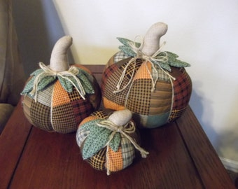 Fall Decoration - 3 Piece Fabric Pumpkin Set