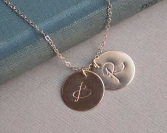 Large Initial Discs, 14k GOLD Fill 1 2 3 4 5 6 Initial Discs, Personalized Jewelry, Monogram Necklace, Mother Family Jewelry