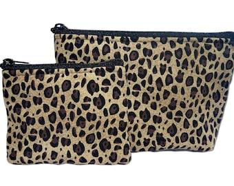 Cheetah Print Makeup and Coin Bag Set