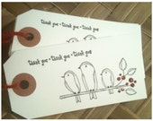 Handstamped Birds Thank You Tags Black Ink Red Glitter Tweet Tweet Line Art Drawing Heavyweight White Card Stock Red Jute Twine Set of 12