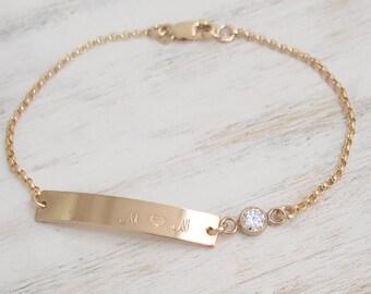 Set of 3 Personalized Gold Bar Bracelet, CZ Bezel stone,14K Gold Filled, Rolo Chain,Personalized Bar Bracelet,Custom font/Initials/Name/Date