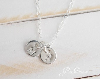Tiny Sterling Silver Initial Disc necklace, 2 Disc necklace, Handmade, Hand Stamped, Mothers Necklace Initial Monogram, choose font/initial