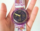 RESERVED FOR EVELYN Vintage Amazing Roman Art Pop Purple Swatch Watch 1991
