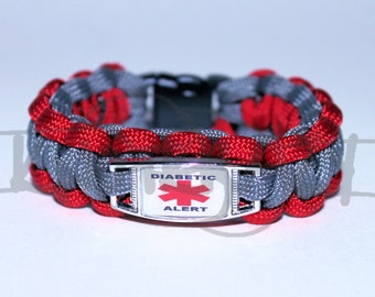Diabetic Medical Alert ID ALLOY Charm on 550 Paracord Survival Strap Bracelet with Plastic Contoured Side Release Buckle