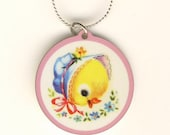 Cute Retro Baby Easter Chick Charm Necklace, New!