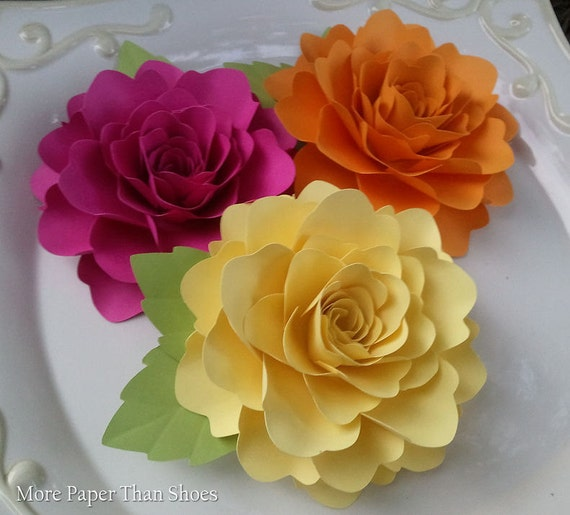 Paper Flowers - Wedding - Baby Shower - Birthday - Decoration - Large - Bright Colors - Custom Made - Set of 12