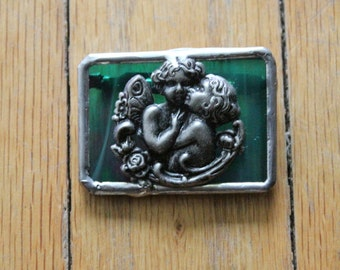Vintage 90's Handmade Iridescent Green Stained Glass Cherub Brooch