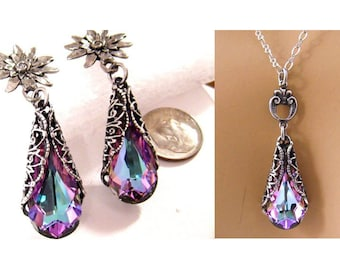Victorian Wedding Jewelry Set, Bridal Jewelry, Purple Bridesmaid Jewelry, Prom Jewelry Set, Purple Crystal Necklace Earring, Bridesmaid Gift