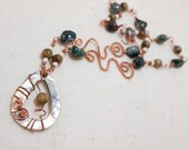 Copper Art Necklace with Shell Pendant Tigers Eye and Moss Agate - The Elegant Tiger - Art Jewelry by Sarah McTernen