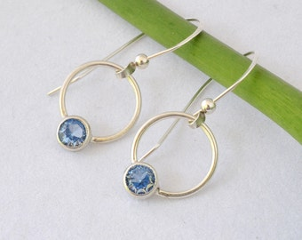 Birthstone Sterling Hoop Dangle Earrings, Birthstone Earrings, Sterling Hoop Earrings with Birthstone