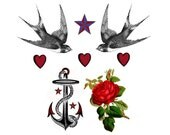 Set of Sailor Jerry Inspired Temporary Tattoos: Hearts, Nautical Star, Anchor, Red Rose, Birds