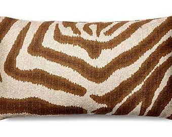 Pillow Cover Cushion 20x20  zebra, brown on oatmeal , other sizes available,