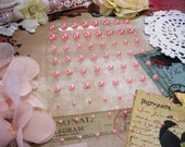 72 Self Adhesive Pearls in Pink For Scrapbooking Mini Albums Paper Crafts Tags Cards and DIY