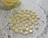50 Flat Back Iridescent Ivory Rhinestones Acrylic Gems for Scrapbooking Cards Mini Albums Tags and Papercrafts Jewelry DIY