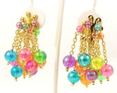 CLEARANCE SALE Vintage Spring Statement Earrings Iridescent Drop Cluster Balls Chains Clip Ons - RebeccasVintageSalon