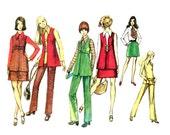 Vintage 1960s Mod Wardrobe Pattern Size 14 Bust 36 Simplicity 8924