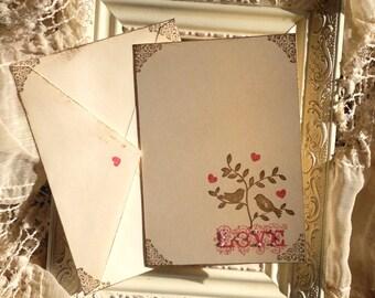 Shabby Chic Valentine Card (ready to ship)