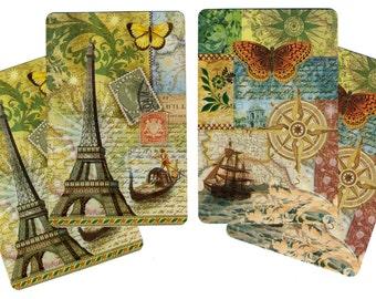 WORLD TRAVEL (4) Single Swap Playing Cards Paper Ephemera Scrapbook Supplies