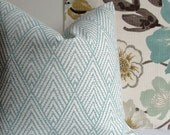Decorative Pillow Cover - Designer throw pillow - Aqua on off white - geometric - chevron - Tahitian Stitch