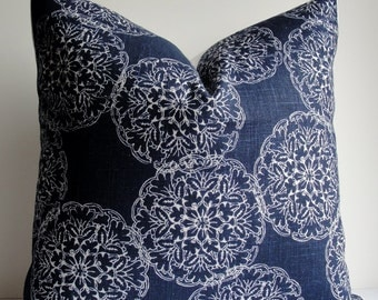 Indigo Blue Wood Block Print Duralee decorative pillow cover - Suzani designer Throw pillow cover Euro sham square lumbar accentpillow cover