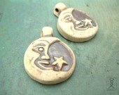 2pc Moon Star Pendants, High Fired Ceramic Clay Pendant, Celestial Beads, 30mm