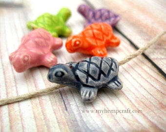 Ceramic Turtle Beads, 5pc Ceramic Colorful Beads, 20x16mm