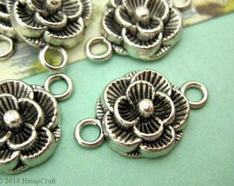 Flower Connector Charms, Rose Charms, Antique Silver Colored Connectors, 12mm, Limited Quantity