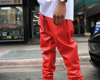 SALE Red Leather Drop Crotch Harem Pants / Mens Joggers / Leather Pants / Red Leather / Handmade by GAG THREADS