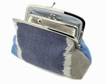 Blue Striped Clutch Coin Purse Wallet Cotton Linen Kiss Lock Cream Beige Metal Silver Frame