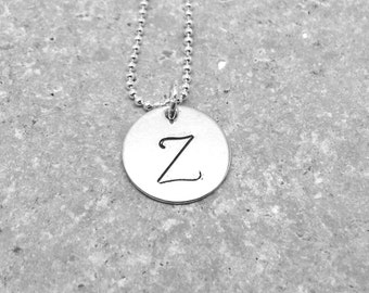 Large Initial Necklace, Letter Z Necklace, Sterling Silver Initial Necklace, Initial Jewelry, Initial Pendant, Letter Z, Charm Necklace
