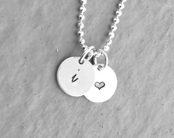 Personalized Heart Necklace, Sterling Silver Jewelry, Initial Necklace with Heart, Hand Stamped Jewelry, Monogram Necklace, Tiny Heart
