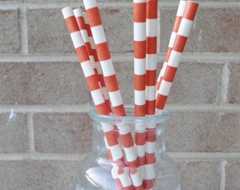 Paper Straws (24) Orange and White Rugby Stripe.   Crafting, Parties, Gifting