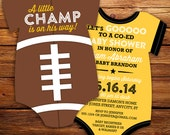 10 Football Baby Shower Invitations, all star invitation -- Onesie Die Cut shaped -- Double sided in any team colors, NFL, College