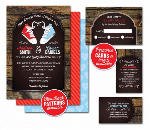 Items Similar To Converse Rustic Wedding Invitations Matching