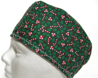 Mens Scrub Hat or Surgical Cap Christmas Green with Holly and Candy Canes