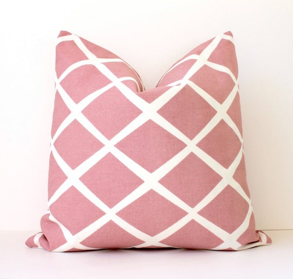 Pale Pink Lattice decorative Designer Pillow Cover 18 cream