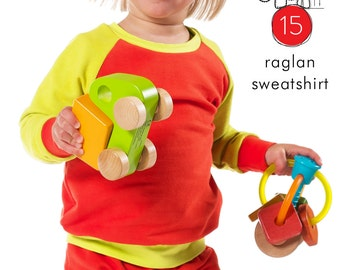Raglan sweatshirt pdf sewing pattern // photo tutorial // instant download // 0M to 6T // #15
