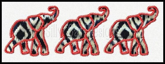 Zig Zag Elephant Trio Applique Embroidery Design
