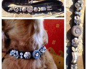 "RESERVED Medium ""Silver Bling"" Custom Faux Diamonds Dog collar, OOAK Rhinestone Bling, Boutique, Hollywood pet, Spoiled, Jeweled"