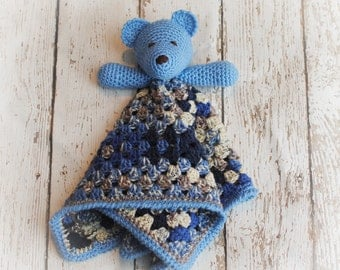 Teddy Bear Lovey, Blue Camo Bear, Security Blanket, Blankie, MADE TO ORDER