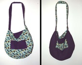 Reversible Cross Body Hobo Tote // Cotton Purse // Large Bag