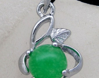 Green Stone Silver Tone Metal Frame Pendant Bead For Handwork 20mm x 12mm  T2147