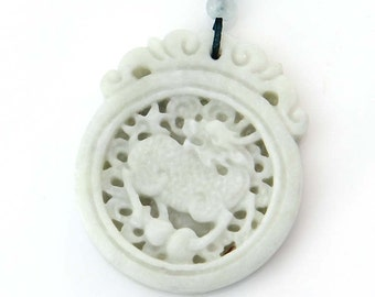 Antique Style Lucky Kylin Qilin Dragon Gourd Amulet Natural Stone Talisman Pendant 45mm x 38mm  TH256