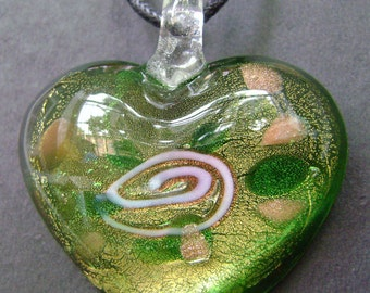 Elegant Lampwork Glass Love Heart Pendant 40mm x 35mm  S265