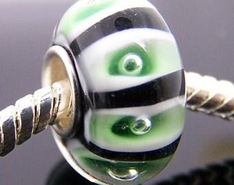 1Pc .925 Murano Glass Bead For Charm Fit European Bracelet Necklace Jewelry 14mm x 7.5mm  jaz307
